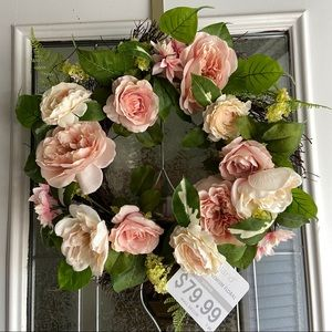 NWT pink floral wreath